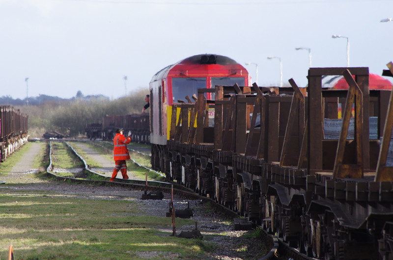 The driver of 60001 passes a tail light to the yard staff 22/03/14