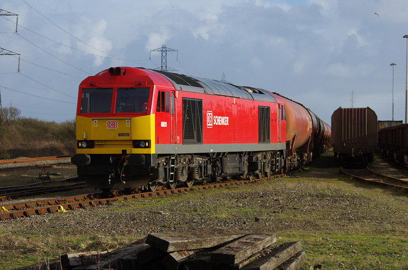 60020 having arrived at Margam Yard with the 11:27 from Theale Oil Terminal 22/03/14