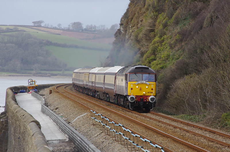 47790 passes St Ishmael working the Northern Belle 11:59 Cardiff Ctl - Fishguard Hbr - Cardiff Central 01/03/14