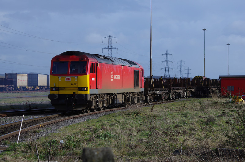 60001 takes an empty steel slab carrying train into the steelworks at Margam 22/03/14