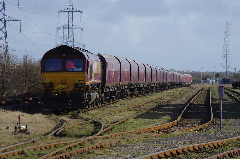 66003 arrives at Margam Yard with the 14:07 from Aberthaw Power Station 22/03/14