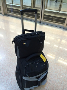 This is all of Jeff's luggage for 3 weeks of international travel.  It helps when all you need is shorts and t-shirts.