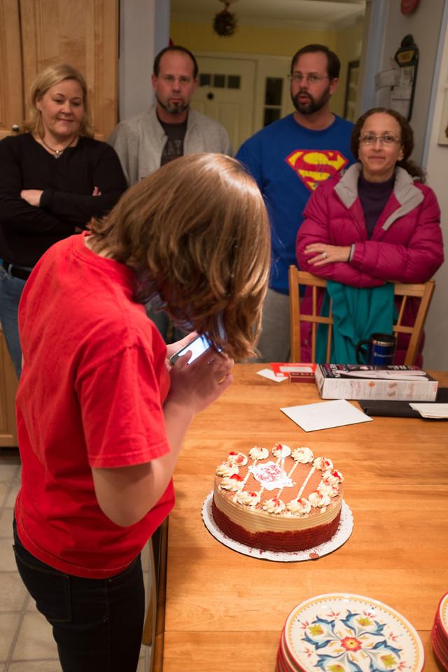 Taking a snapshot of Jeff's birthday cake.