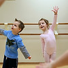 Rob Winner – rwinner@shawmedia.com<br /> <br /> Max Madonia (left), 4, and Charlotte Anderson, 4, practice dancing during their Pre Ballet 1 class at the Plainfield Park District on Thursday, Feb. 20, 2014.
