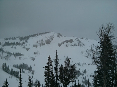 View of the hike up to Headwall in Jackson Hole.