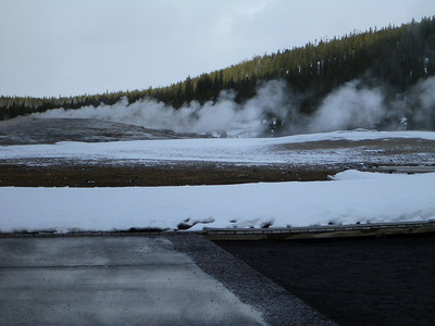 Old Faithful steaming away in Yellowstone National Park.