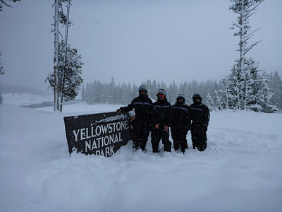 Entering Yellowstone Nationa Park for a snowmobile tour to Old Faithful.