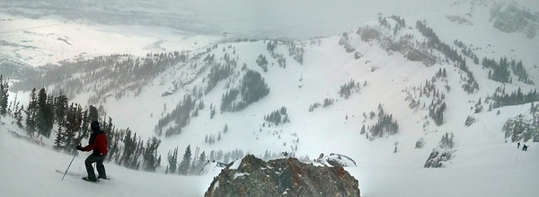 View from the top of Headwall, above Coombs, in Jackson Hole.