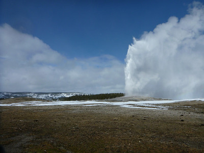 Old Faithful erupting in Yellowstone National Park.