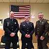 Brian Stanley – bstanley@shawmedia.com<br /> <br /> (From left to right) Joliet Police Officer of the Year Jeff German, Joliet Firefighter of the Year Scott Gleim and Will County Sheriff's Deputy of the Year Jim Akers received their awards Thursday from the Veterans of Foreign Wars Catigny Post.