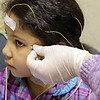 Rob Winner – rwinner@shawmedia.com<br /> <br /> Tiana Lymas, 6, has electrodes attached to her head and body for a demonstration on pediatric sleep apnea at Cardinal Sleep Disorder Centers of America in Joliet, Ill., Tuesday, March 11, 2014.