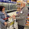 John Patsch - For Shaw Media<br /> Rabbi Charles Rubovits, r, talks ti Dr. Estelle Fletcher about Passover at the Jewel on Jefferson St.