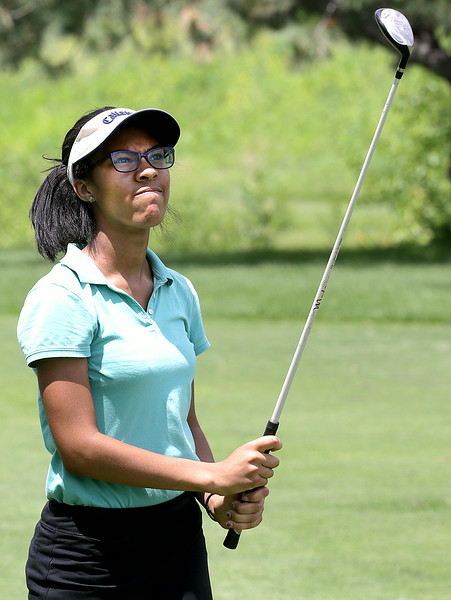 John Patsch for Shaw Media<br /> <br /> Trinity Hill watches her drive on the 11th hole at the Junior JPD tournament at Inwood Golf Course.