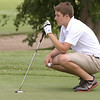 John Patsch for Shaw Media<br /> <br /> Theo Romac reads his putt while waiting on the 12th green.