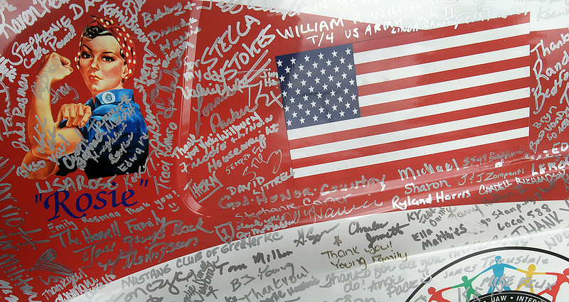 John Patsch-For Shaw Media<br /> People were asked to sign the Wounded Warrior Mustang at Tirapelli Ford Saturday.  After the Mustang tours the country, it will be auctioned off.