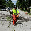 Rob Winner – rwinner@shawmedia.com<br /> <br /> Village of Plainfield public works employee Brian Fahnstrom drags a limb from an ash tree to a wood chipper after the tree was removed from the front yard of a house on Partridge Drive in Plainfield Wednesday, July 16, 2014.