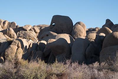 Hiking near the Jumbo Rocks in Joshua Tree National Park.