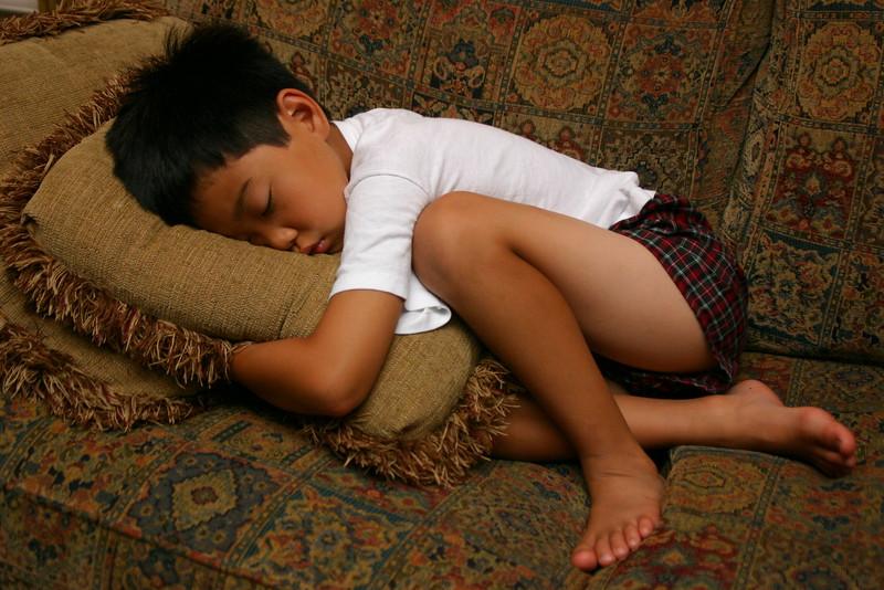 2005-08-01 Wyatt Sleeps on Couch in Underwear and T-Shirt Portait 2