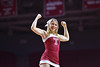"PHILADELPHIA - NOVEMBER 17: A Temple cheerleader performs for the ""flex cam"" during the NCAA basketball game November 17, 2014 in Philadelphia."