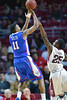 PHILADELPHIA - NOVEMBER 17: Louisiana Tech Bulldogs guard Xavian Stapleton (11) shoots over Temple Owls guard Quenton DeCosey (25) during the NCAA basketball game November 17, 2014 in Philadelphia.