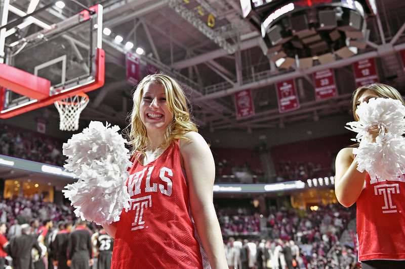 PHILADELPHIA - FEBRUARY 10:  The Temple Diamond Gems dance team performs during the AAC conference college basketball game January 10, 2015 in Philadelphia.