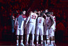 PHILADELPHIA - FEBRUARY 10:  The Temple Owls basketball team huddle during pre game introductions as the arena is still lit in red prior to the AAC conference college basketball game January 10, 2015 in Philadelphia.