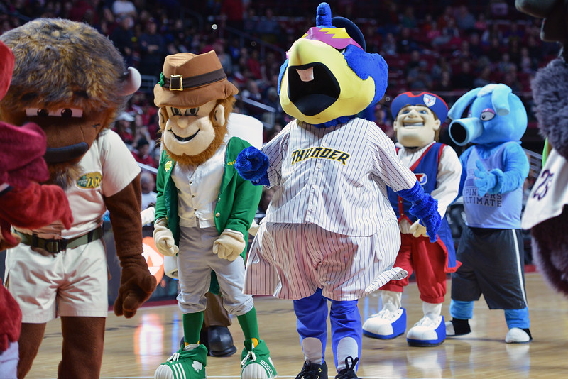 PHILADELPHIA - FEBRUARY 14:  A collection of mascots on the court for the birthday of Temple's mascot during the AAC conference college basketball game January 14, 2015 in Philadelphia.