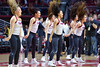 PHILADELPHIA - FEBRUARY 26: The Temple Owls Diamond Gems dance team performs during the AAC conference college basketball game  February 26, 2015 in Philadelphia.
