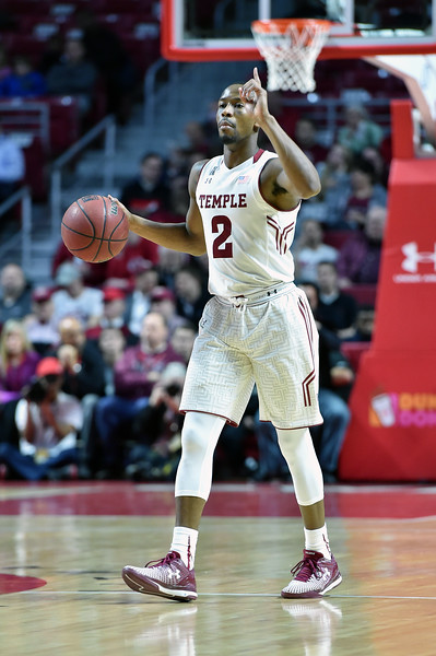 PHILADELPHIA - FEBRUARY 26: Temple Owls guard Will Cummings (2) calls a play during the AAC conference college basketball game  February 26, 2015 in Philadelphia.