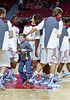 PHILADELPHIA - JANUARY 14: A young Temple fan stands among Owls players during shoot arounds prior to the AAC conference college basketball game January 14, 2015 in Philadelphia.