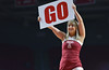 PHILADELPHIA - JANUARY 4: A Temple cheerleader holds up a Go sign during the American Athletic Conference basketball game January 4, 2015 in Philadelphia.