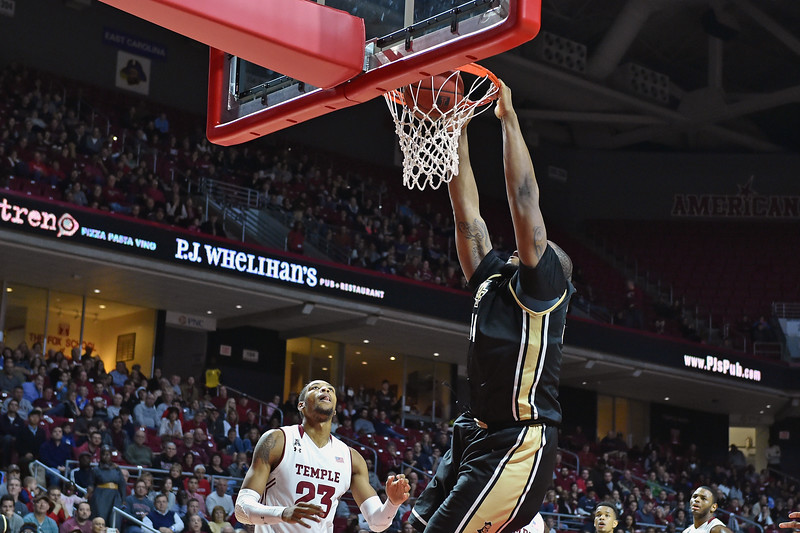 PHILADELPHIA - JANUARY 4: UCF Knights center Justin McBride (34) finishes a slam dunk during the American Athletic Conference basketball game January 4, 2015 in Philadelphia.