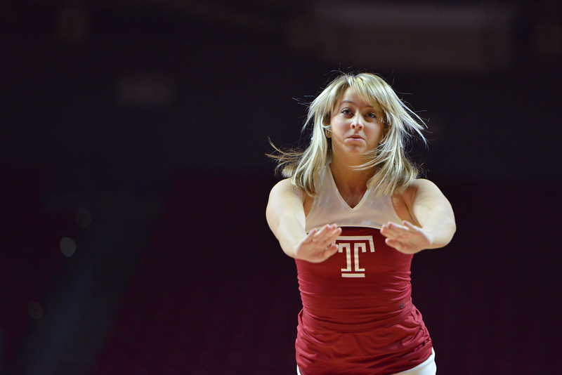 PHILADELPHIA - JANUARY 22: A Temple cheerleader performs prior to the AAC conference college basketball game January 22, 2015 in Philadelphia.