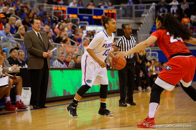 Florida Gators guard Cassie Peoples dribbling in the offensive zone during the first half.  Florida Gators Womens Basketball vs Georgia Bulldogs.  February 28th, 2015. Gator Country photo by David Bowie.