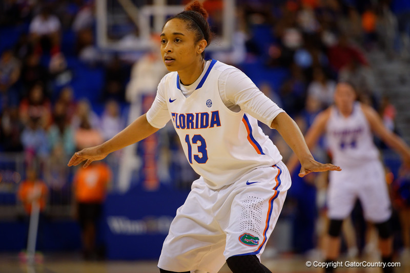 Florida Gators guard Cassie Peoples gets back on defense during the first half.  Florida Gators Womens Basketball vs Georgia Bulldogs.  February 28th, 2015. Gator Country photo by David Bowie.