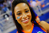 A Florida Gator cheerleader smiles for the camera.  Florida Gators Womens Basketball vs Georgia Bulldogs.  February 28th, 2015. Gator Country photo by David Bowie.