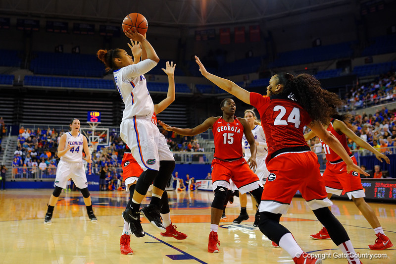 Florida Gators guard Cassie Peoples puts up a shot during the first half.  Florida Gators Womens Basketball vs Georgia Bulldogs.  February 28th, 2015. Gator Country photo by David Bowie.