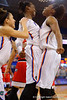 Florida Gators guard Ronni Williams and Florida Gators forward Kayla Lewis celebrate as the Gators take the lead late in the second half.  Florida Gators Womens Basketball vs Georgia Bulldogs.  February 28th, 2015. Gator Country photo by David Bowie.