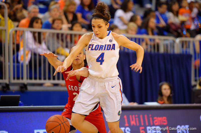 Florida Gators guard Carlie Needles steals the ball on an inbound play late in second half.  Florida Gators Womens Basketball vs Georgia Bulldogs.  February 28th, 2015. Gator Country photo by David Bowie.