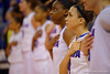Florida Gators guard Carlie Needles during the natonal anthem.  Florida Gators Womens Basketball vs Georgia Bulldogs.  February 28th, 2015. Gator Country photo by David Bowie.