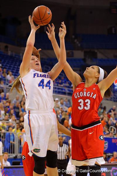 Florida Gators forward Haley Lorenzen scores during the second half.  Florida Gators Womens Basketball vs Georgia Bulldogs.  February 28th, 2015. Gator Country photo by David Bowie.