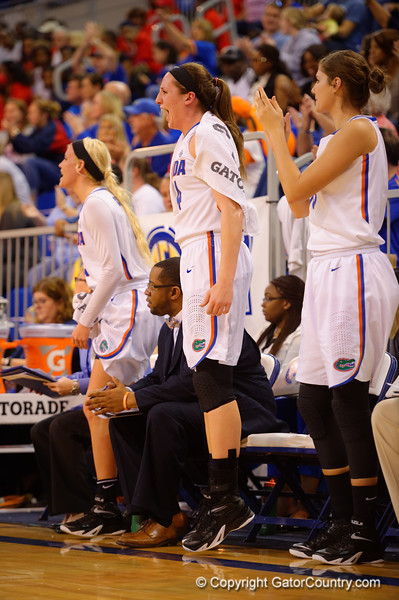 Florida Gators forward Haley Lorenzen leaps into the air in joy during the second half.  Florida Gators Womens Basketball vs Georgia Bulldogs.  February 28th, 2015. Gator Country photo by David Bowie.