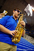 A University of Florida saxophone player plays on for the crowd.  Florida Gators Womens Basketball vs Georgia Bulldogs.  February 28th, 2015. Gator Country photo by David Bowie.