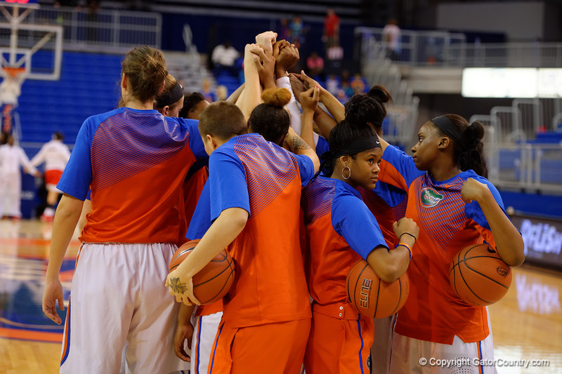 The Gators gather together after pre-game drills before heading back into the locker room.  Florida Gators Womens Basketball vs Georgia Bulldogs.  February 28th, 2015. Gator Country photo by David Bowie.