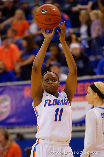 Florida Gators guard Dyandria Anderson during last minute warm ups prior to tip off.  Florida Gators Womens Basketball vs Georgia Bulldogs.  February 28th, 2015. Gator Country photo by David Bowie.