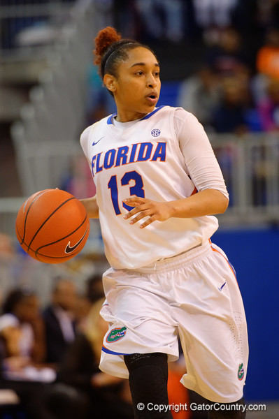Florida Gators guard Cassie Peoples dribbles up court during the first half.  Florida Gators Womens Basketball vs Georgia Bulldogs.  February 28th, 2015. Gator Country photo by David Bowie.