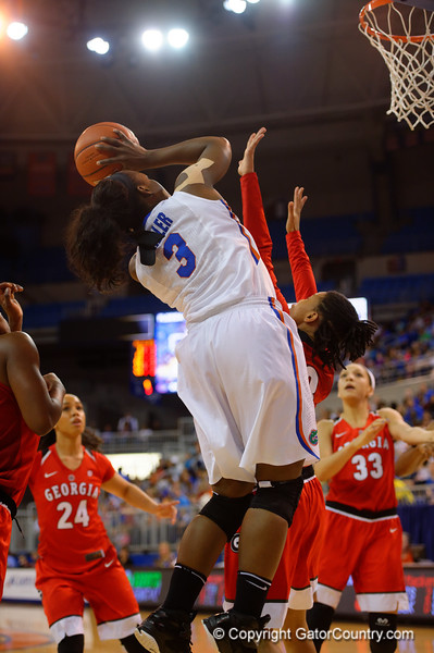 Florida Gators guard January Miller drives the baseline during the first half.  Florida Gators Womens Basketball vs Georgia Bulldogs.  February 28th, 2015. Gator Country photo by David Bowie.