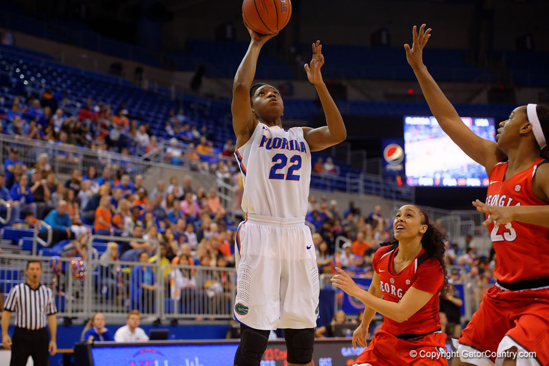 Florida Gators forward Kayla Lewis scores during the second half.  Florida Gators Womens Basketball vs Georgia Bulldogs.  February 28th, 2015. Gator Country photo by David Bowie.