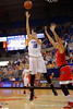 Florida Gators center Viktorija Dimaite scores on turn around jumper in the first half.  Florida Gators Womens Basketball vs Georgia Bulldogs.  February 28th, 2015. Gator Country photo by David Bowie.