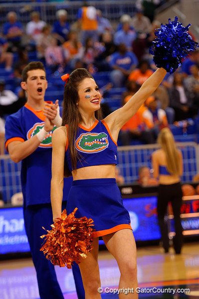 The Florida Gator cheerleaders cheer on for the fans.  Florida Gators Womens Basketball vs Georgia Bulldogs.  February 28th, 2015. Gator Country photo by David Bowie.